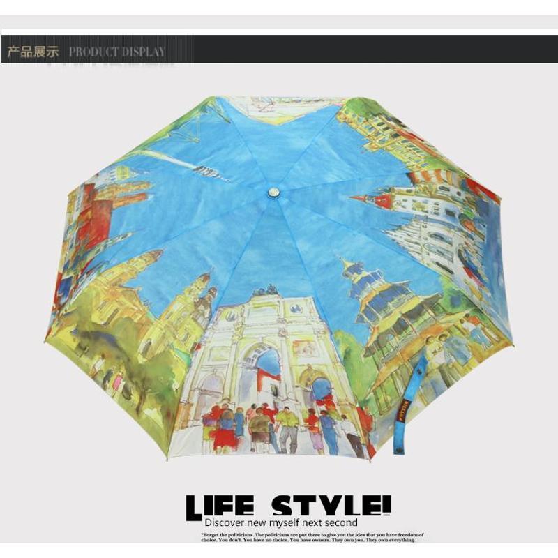欧美八国风景油画伞防紫外线遮阳伞晴雨伞创意三折伞