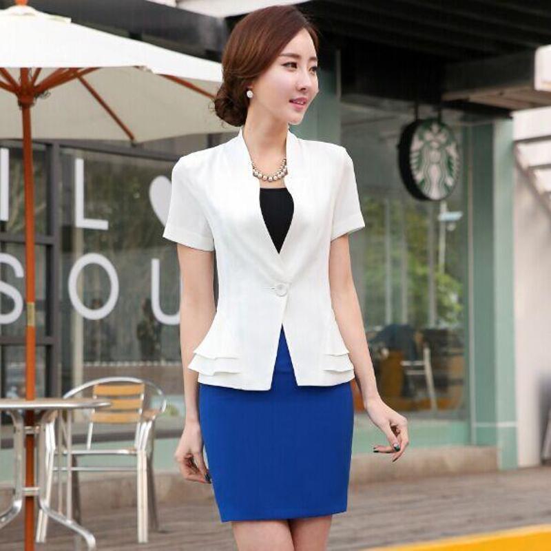 版春夏新款短袖黑色套裙白领工作服正装一粒扣西装裙图片