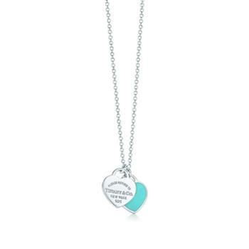 蒂芙尼(Tiffany & Co.)女款珐琅心形吊坠项链 GRP06366 18IN