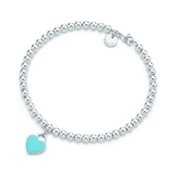 蒂芙尼(Tiffany & Co.)女款镶蒂芙尼蓝珐琅心形手链 GRP03577 蓝色 7IN