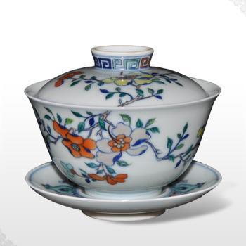 景德镇三才杯套装品茗杯青花瓷手绘高档茶杯陶瓷瓷器杯子普洱餐饮