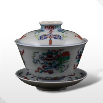 淘瓷缘景德镇手绘青花斗彩仿古瓷器茶具品茗盖碗【八宝】普洱礼