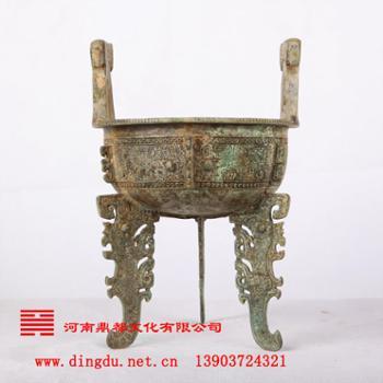 河南鼎都 安阳青铜器仿制基地 青铜器--兽面纹扁足鼎