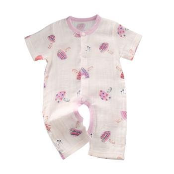 龙之涵婴幼儿夏季空调服纯棉纱布开档连体衣
