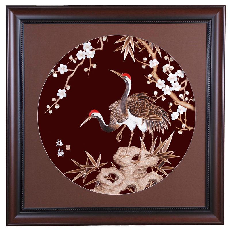 汤金明麦草画 梅鹤图 70 70cm 优质麦秸秆 现代中式风格