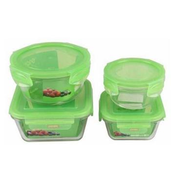 康宁扣Snapware 耐热玻璃保鲜盒四面锁扣 四件组 韩国进口