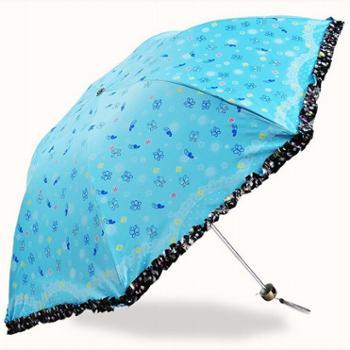 天堂伞 3343E 公主伞 太阳伞 三折防紫外线遮阳晴雨伞 蕾丝花边