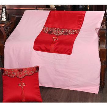 路易卡罗 中国风抱枕被 红色