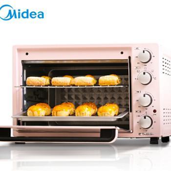 美的(Midea)PT3502 家用多功能电烤箱 35升大容量 机械式操控 上下独立控温 旋转烧烤 烘烤面包蛋挞