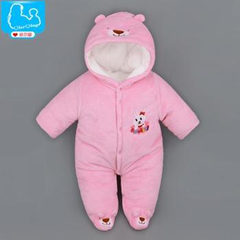 初生婴儿连体衣加厚秋冬装宝宝哈衣新生儿衣服0-3-6个月带帽棉衣LTY308