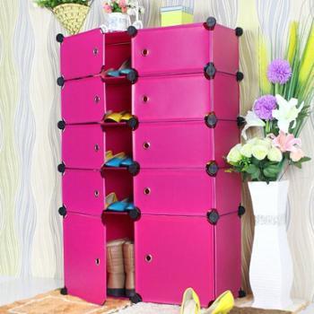 乔明DIY百变树脂片 五格组合式简易鞋柜可拆装宜家防尘进门鞋柜