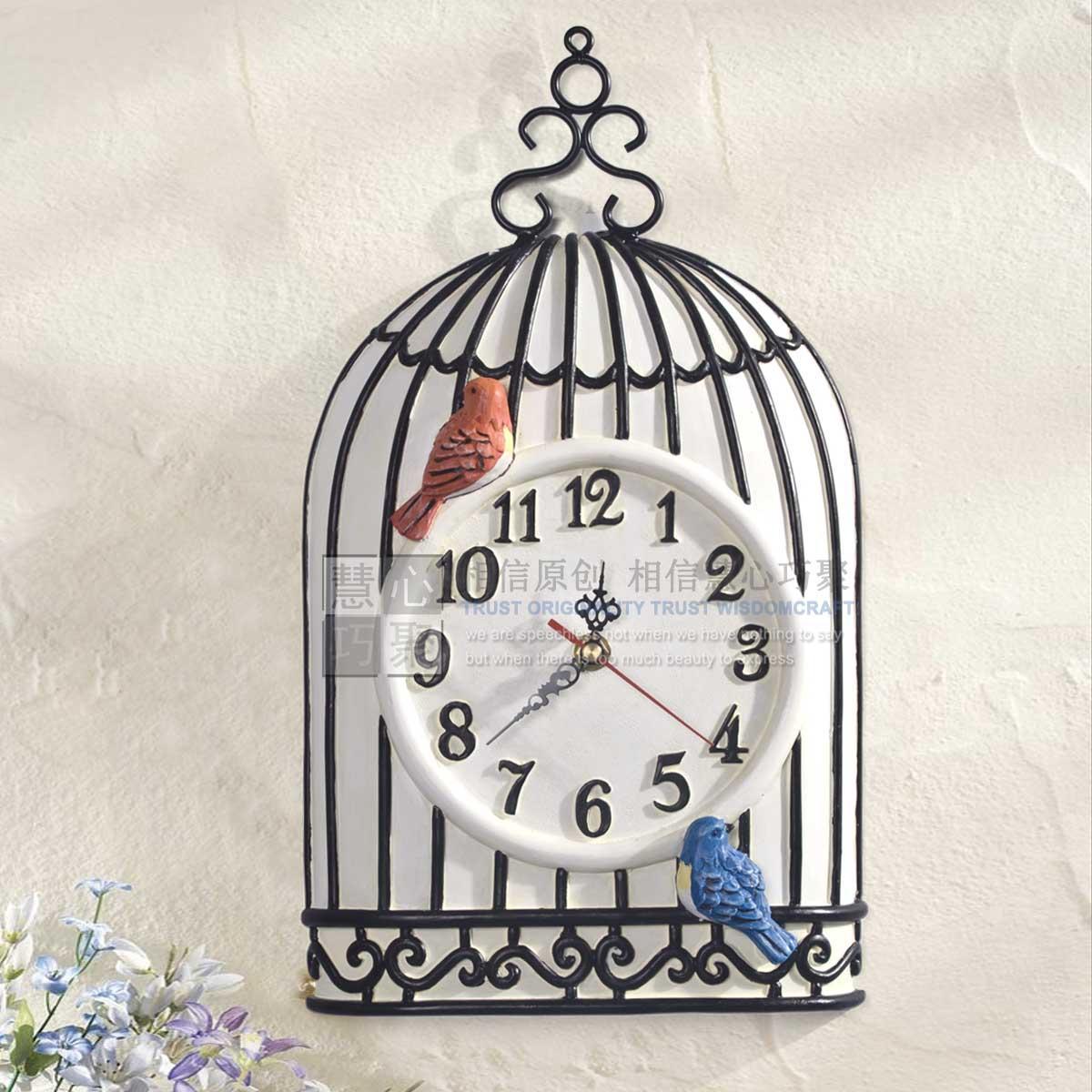 【9折】2013新品慧心独家欧式田园艺术时钟创意鸟笼
