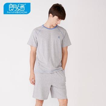 朗绪男士睡衣纯棉短袖短裤夏季睡衣休闲青年家居服套装62N1S010D