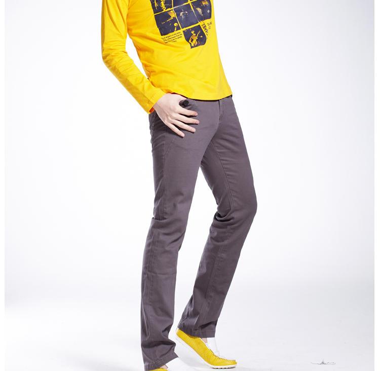 东方骆驼2013春季新品 男装款式休闲打底内搭修身前胸印花长