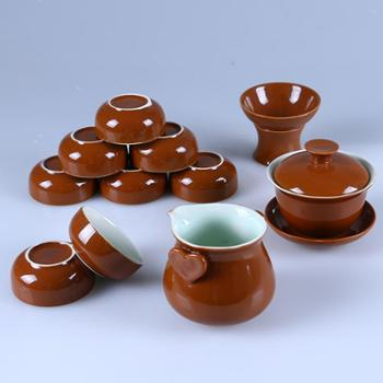 咖啡釉茶具套装 整套茶具 功夫茶具 陶瓷茶具组合 办公室家用茶具