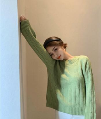 秋冬外穿时尚百搭麻花吃土毛衣女宽松学生软奶蓝针织衫潮