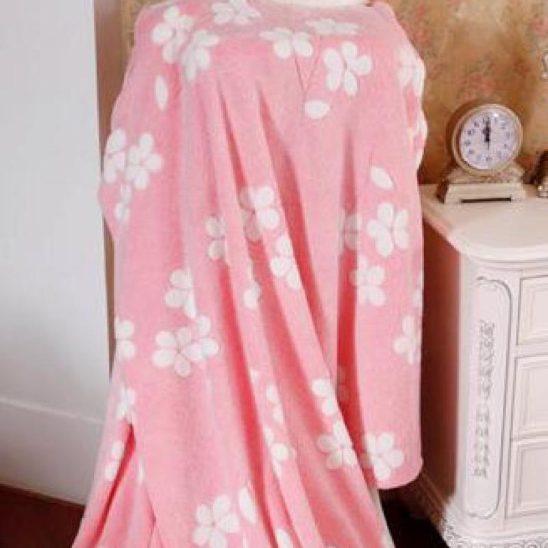 【紫荆秀】立体珊瑚绒毯180*210淡粉色小花清新日韩