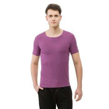 歌帝男士莫代尔激光切割圆领无痕短袖打底衫T恤衬衫搭配必备GDW7457