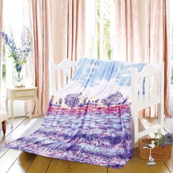 金丝莉法兰绒爱.在普罗旺斯.薰衣草毯
