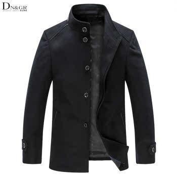 dngr2015秋冬新款时尚商务休闲保暖立领单排扣羊绒大衣2015005
