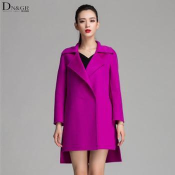 【dngr品牌团】2015秋冬新款欧美风修身中长款双面羊绒大衣C16030
