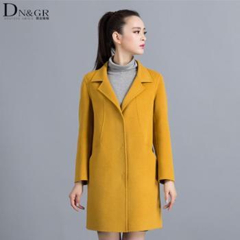 dngr2015秋冬新款欧美风修身中长款羊绒大衣C16011