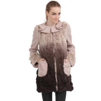 领御 13新款女装獭兔毛皮草外套 圆领娜衣 中长款修身拼接呢大衣