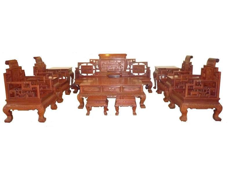 木头记 红木家具 清式红酸枝卷书沙发十三件套