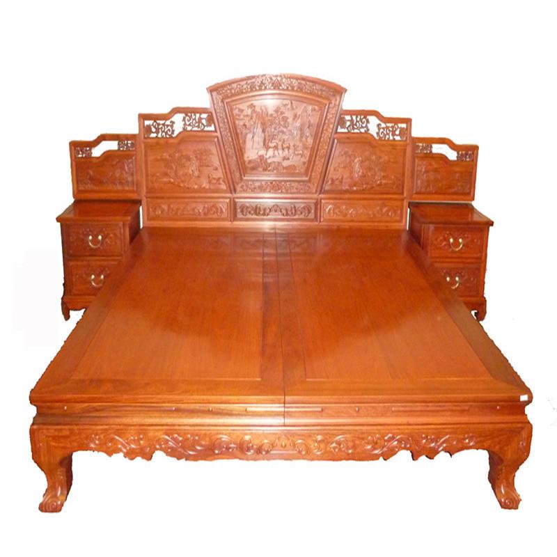 木头记 红木家具 缅甸花梨清式福禄寿攒斗高低床三