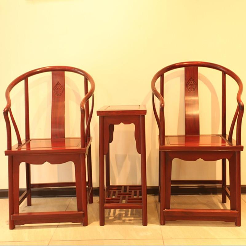 木头记 红木家具 大叶紫檀明式圈椅三件套