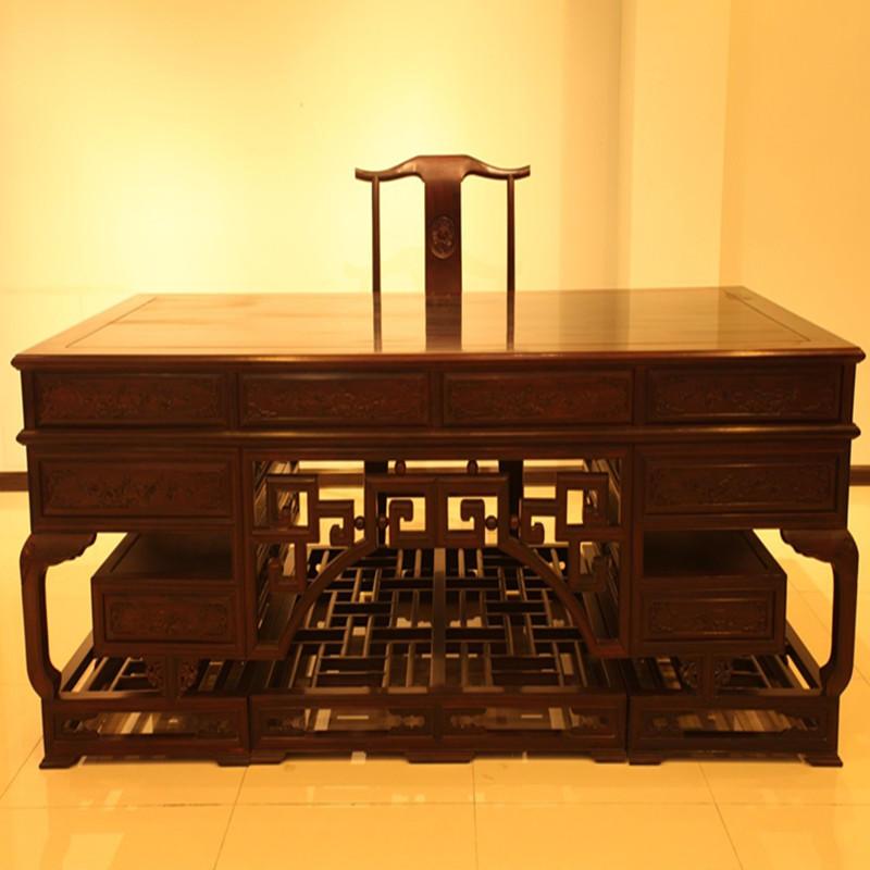 木头记 红木家具 老挝黑酸枝清式雕花办公桌两件套