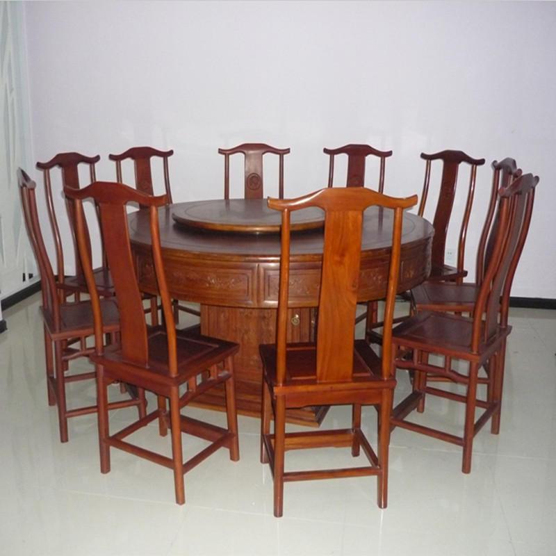 木头记 红木家具 非洲花梨清式圆餐桌十一件套