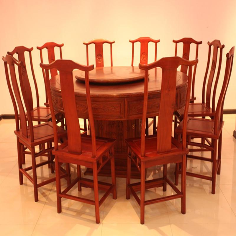 木头记 红木家具 缅甸花梨清式满雕圆餐桌十一件套