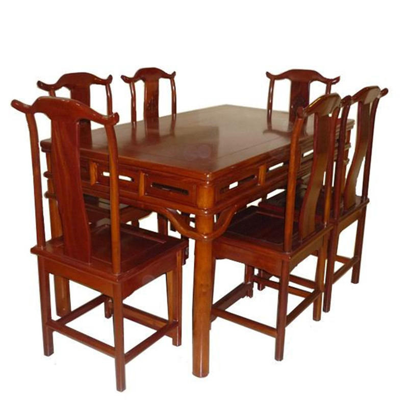 木头记 红木家具 明式长方形餐桌七件套