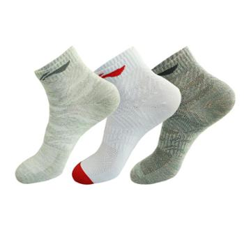 李宁LI-NING运动袜男士女士3双装羽毛球运动休闲透气棉袜子