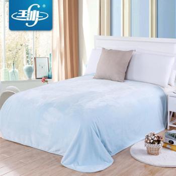 玉沙素色毛毯珊瑚绒空调毯夏季午睡毯子法兰绒毛巾被盖毯床单