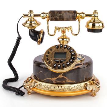 礼之源富贵和平电话机摆件 金丝玉石欧式家居装饰 皇室复古电话机