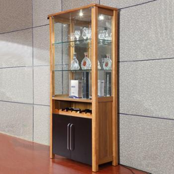 木主框架玻璃酒柜 简约木质客厅酒柜隔断柜储物柜 ps jg001