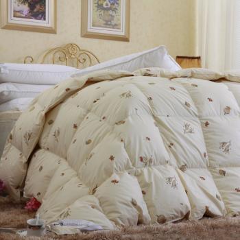 天然家居95%白鸭绒有机棉春秋被子保暖被芯250*230cm045