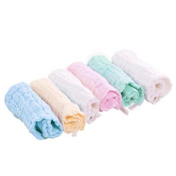 皇家之星 婴儿纱布手帕 洗脸巾 口水巾 新生儿纯棉毛巾 6条装S731