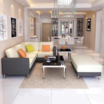 杰希家具布艺组合沙发现代简约时尚客厅拼色转角布艺长凳沙发大小户型客厅环保麻棉布休