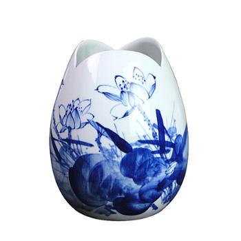 HC-D25景德镇欢畅陶瓷手绘青花瓷荷韵花瓶花插现代时尚摆件