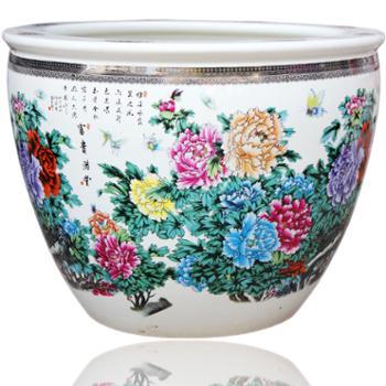 欢畅 景德镇陶瓷 超大型鱼缸景富贵满堂 庭院摆件 养鱼缸 hc-w53