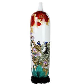 aj117欢畅景德镇陶瓷器高档手绘粉彩荣华富贵 客厅摆件落地大花瓶