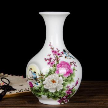 cb122景德镇陶瓷器小花瓶插花中式家居客厅装饰品酒柜电视柜摆件