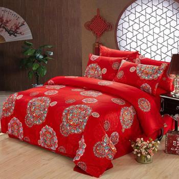 520家纺全棉60支婚庆四件套 花好月圆 1.8-2米床大红喜被结婚床上用品 秋冬加厚
