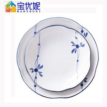 宝优妮 DQ9127-5家用创意复古水墨陶瓷菜盘子 2只套装