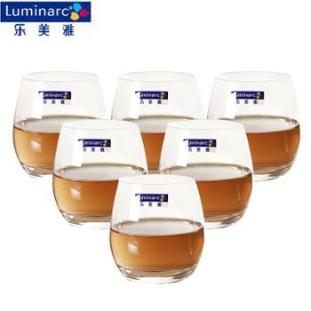 乐美雅 钠钙玻璃盛世直身杯6只装 矮款 320ml*6 H9207