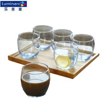 乐美雅 钠钙玻璃凝彩直身杯6只装 矮款冰蓝 350ml*6 P2599