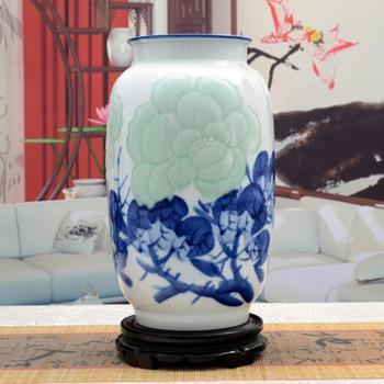 傲世瓷业景德镇陶瓷器古典青花影青瓷手绘浮雕花瓶工艺品摆件装饰品五款可选H029